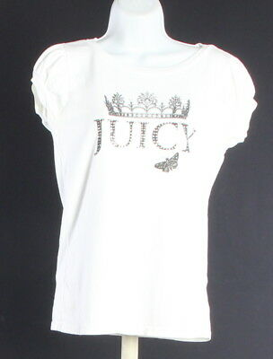 Women's JUICY COUTURE White 100% Cotton Short Sleeve Embellished T-Shirt Size M