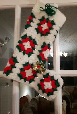 Vintage Granny squares crochet Christmas stocking jingle bells old fashioned