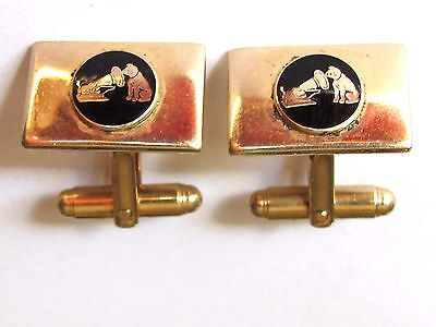 Vintage Advertising Rca Cufflinks  Nipper Dog Record Player - Harvale