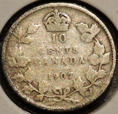 Canada Dime - 1907 - King Edward VII - $1 Unlimited Shipping