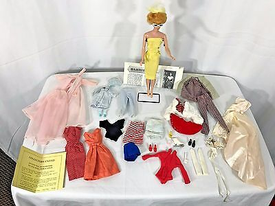 Rare Bubble Cut 1960s Barbie, Blonde with large lot of clothes Japan shoes