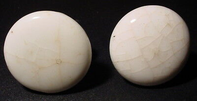 "Two 2"" Antique Heavy White Porcelain Cupboard Or Dresser Door Or Drawer Knobs"