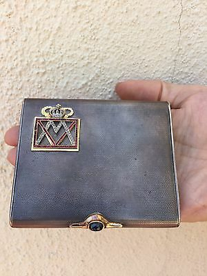 "Sterling Silver Cabochon Sapphire Cigarette Case 18K Gold  Ruby""s and Diamonds"