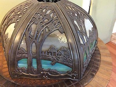 ART AND CRAFT art Nouveau Glass Slag Lamp Shade