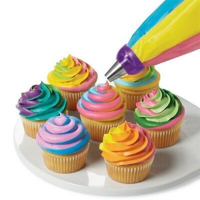 Cake Decor Tools 3-Color Icing Piping Cream Pastry Bag Nozzle Converter Hot BV82