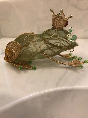 RARE Wire Net Transparent Green Gold King Frog Crown Basket Christmas Ornament