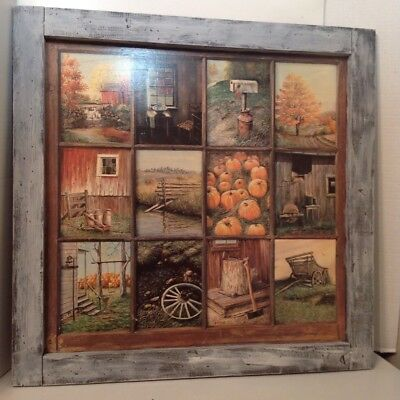 Home Interior Fall Harvest Framed 12 Window Pane Picture B Mitchell  HOMECO Rare