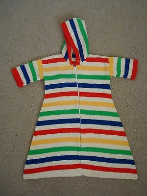 1980s HAND KNITTED BABY HOODED SLEEPING BAG - Suit 3-6 months