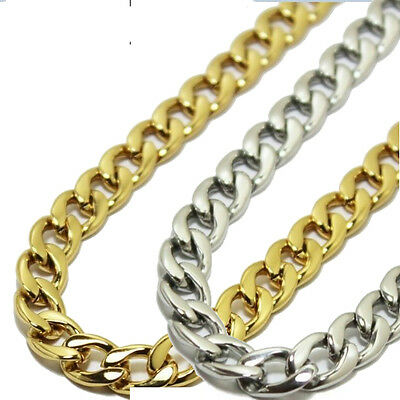 "16""-40"" 6MM Stainless Steel Chain Necklace Curb Cuban Biker Classic Gold Silver"