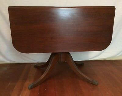 """Vintage """"DUNCAN PHYFE"""" STYLE PEDESTAL DROP-LEAF DINING TABLE and PAD"""