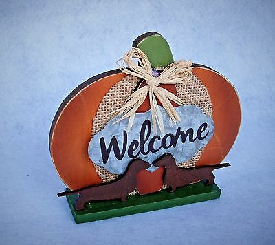Dachshund  Brown Wood On Mini Pumpkin Welcome Tabletop Decor Fall Thanksgiving