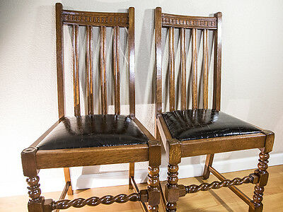 Antique Vintage English Oak Pair of Dining Chairs Barley Twist Draw Leaf Leather
