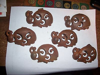 """Antique Metal Rusty Iron Curtain Rod Clips Ladybugs Lot of 6 Vintage 3"""" x 2"""""""