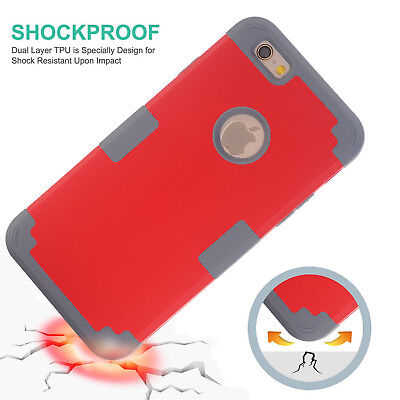 """3-in-1 Skin For Apple iPhone 6 6s 4.7"""" Dust ShockProof Hybrid Hard Case Cover"""