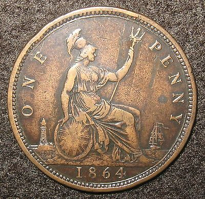 1864 Penny with a Crosslet 4 Great Britain Bronze Coin