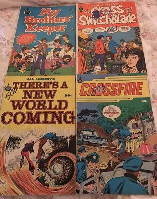 Lot of 4 Spire Christian Comics - In Fair Vintage Condition