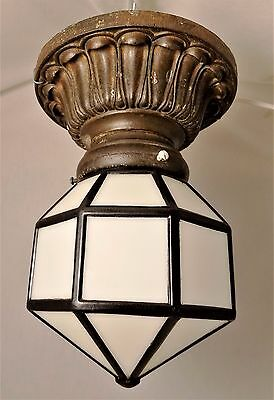 Vintage Cast Iron Art Deco Ceiling Light Fixture~Geometric Shade with 24 Panels