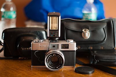 Film Tested Konica Auto S2 Rangefinder Camera Hexanon 45mm f1.8 Lens. Works 100%