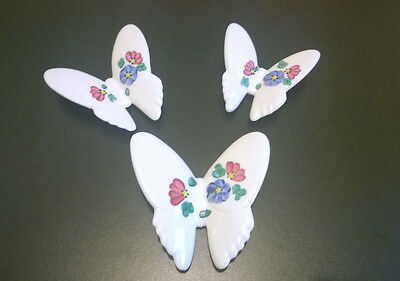 Vtg Floral Ceramic Homco Butterfly Wall Hanging Plaque Set