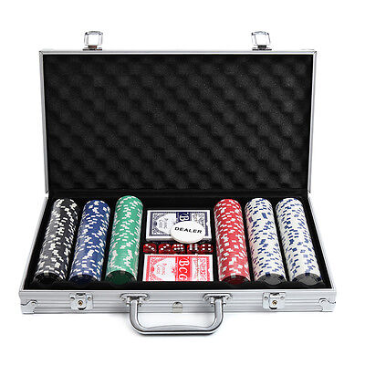 300 Poker Chip Set Aluminum Case Professional Cards Dice New