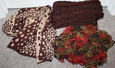 Lot of 3 Brown Scarves Fall Colors Red Polka Dot NICE Infinity Scarf Soft EUC