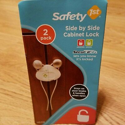 Safety 1st 2 pack side by side cabinet locks, white, knob locks, baby proofing