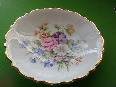 Royal Adderley Pin, Ring, Jewellery Dish Floral Bone China England Original Box