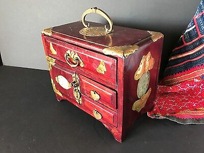 Old Chinese Redwood Jewelry Box with five Drawers  …beautiful brass handles...