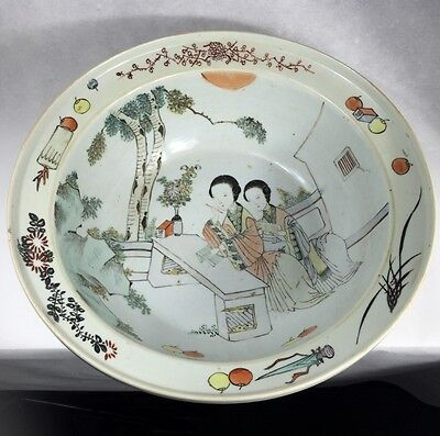 Large Chinese basin with polychrome courtyard scene, 19th century