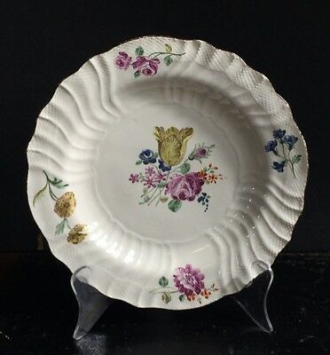 Chantilly plate with colourful flowers, C. 1755