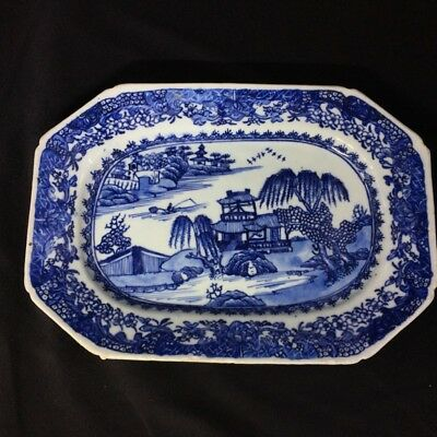 Chinese Export rectangular dish, river landscape in blue, c. 1760