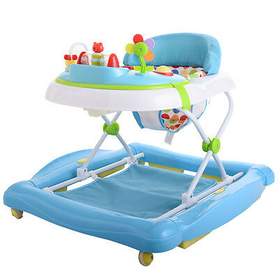 New Blue Baby Walker Toddler Safety Learn To Walk Adjustable Height Walker