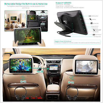 """10.1"""" Car Headrest Monitor DVD Player Kit With USB/SD/HDMI Port & Remote Control"""