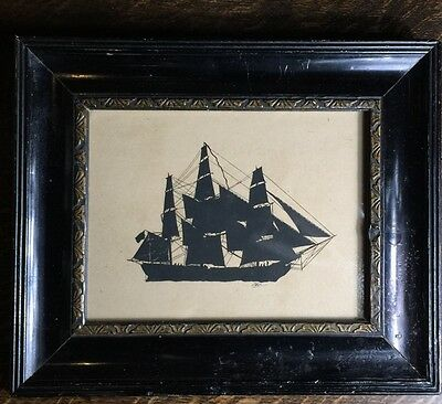 Early Victorian silhouette of a ship, C. 1845