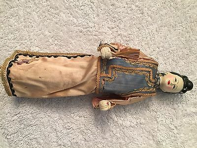Vintage Hand Painted CHINESE Opera Puppet Doll, Ornate Silk Clothing / Fan