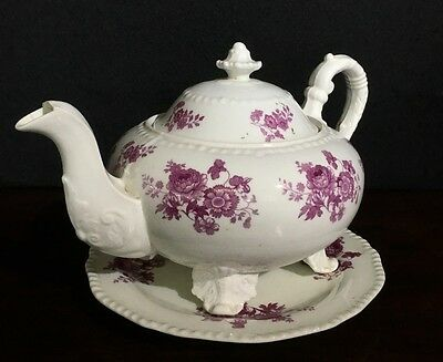 Daniel 'Second Gadroon' teapot & stand, puce flower print #4309, C. 1826