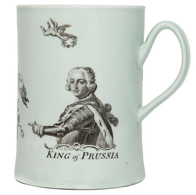 Worcester King of Prussia mug, dated 1757