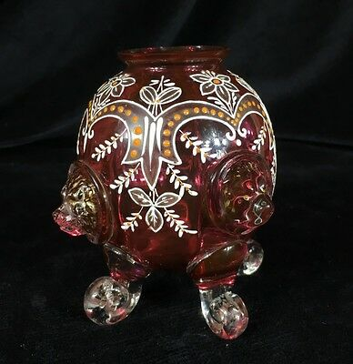 Victorian ruby glass vase , lions heads & enamels, Moser? c. 1880