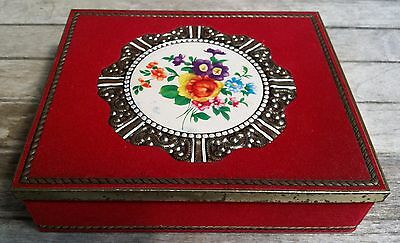 Vintage Retro Rare Decorative Velvet Covered Metal Tin Embossed Flowers Image