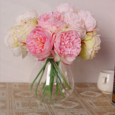 Artificial Fake Silk Peony Bouquet Flower Home Room Bridal Wedding Party Decor