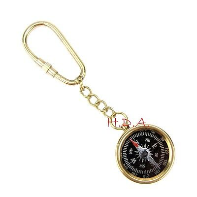 """Antique Brass Pocket Compass Nautical Vintage Maritime Gift Key Chain 1"""""""