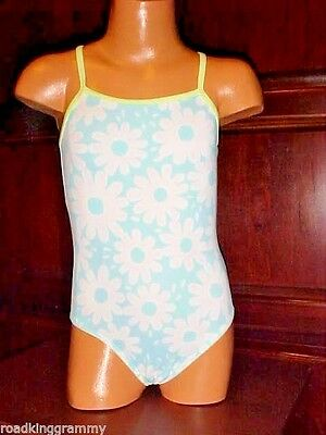 Old Navy One-Piece Swimsuit - 6-12 mon. - Green,blue,white - Daisies power  NWT