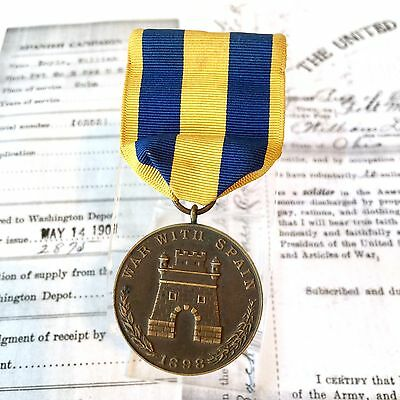 No. 2875 US ARMY SPANISH CAMPAIGN MEDAL SGT. WILLIAM DOYLE WRAP BROOCH +RESEARCH