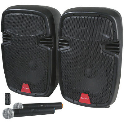 Two Speaker PA System with UHF Microphones