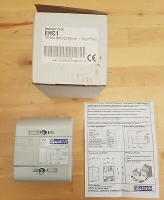 PROTEUS ECH1 100 AMP SINGLE PHASE HEATING CONTACTOR AC1 230v EHC 1