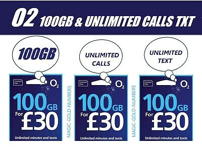 Official O2 Network Pay As You Go 02 Sim Card Sealed 20Gb Net 3000 Min 3000 Text
