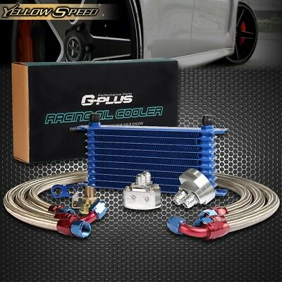 GPLUS 10 ROW Engine Oil Cooler Relocation Kit Filter Adapter + SS Line Hose