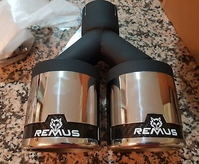 Remus Dual Exhaust Tips Stainless steel  With Carbon Fibre Logo Surroundings