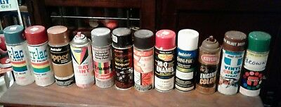 vintage Spray paint mixed lot 10 old cans,custom colors,Borden,paper labels,etc