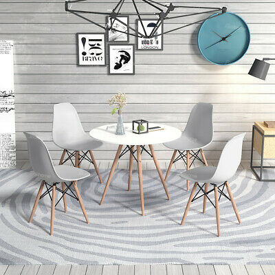 White Eiffel Style Dining Table Round  Lounge Bar Wood Leg Meeting Table
